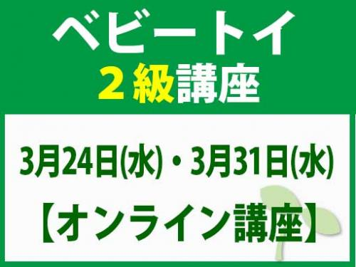 【オンラインライブ講座】3月24日(水)・3月31日(水) ベビートイ2級講座